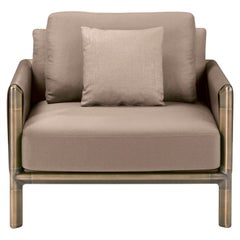 Frame Armchair in Beige with Brown Burnished Brass Legs