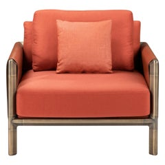 Frame Armchair in Orange Fabric and Cuoio Leather with Brown Burnished Brass Leg