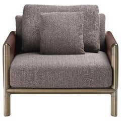 Frame Armchair in Safire Fabric and Cuoio Leather with Brown Burnished Brass Leg