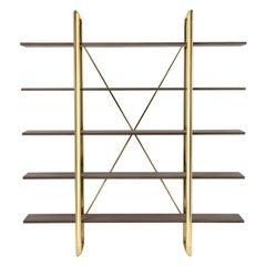 Frame Bookshelves in Polished Brass & Bolivar Wood by Stefano Giovannoni
