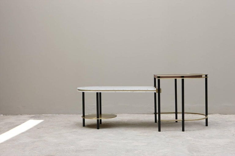 The frame coffee table is a culmination of Art Deco flare mixed with a modernized mechanical ethos.