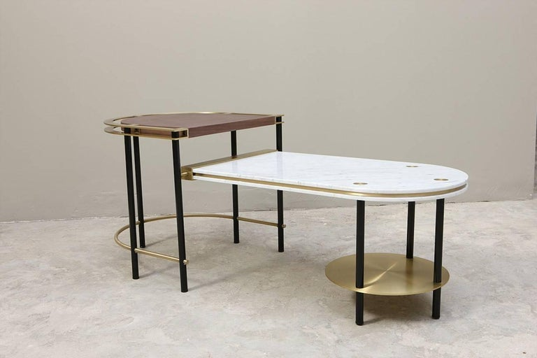 Lebanese Frame Coffee Table, Contemporary Handmade Brass and Marble Coffee Table For Sale