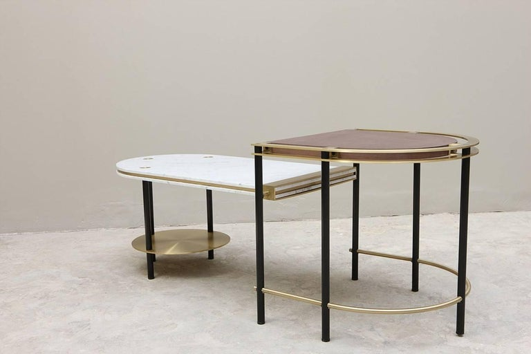 Frame Coffee Table, Contemporary Handmade Brass and Marble Coffee Table In New Condition For Sale In New York, NY