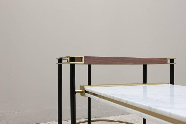 Walnut Frame Coffee Table, Contemporary Handmade Brass and Marble Coffee Table For Sale