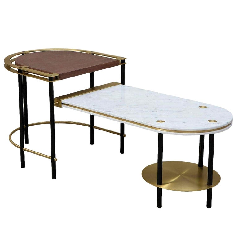 Frame Coffee Table, Contemporary Handmade Brass and Marble Coffee Table For Sale