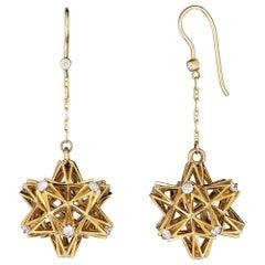 Frame Diamond Gold Dangle Earrings