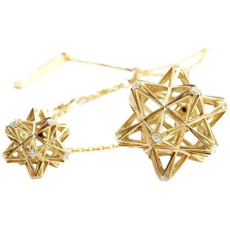 Modern Frame Diamond Gold Pendant For Sale
