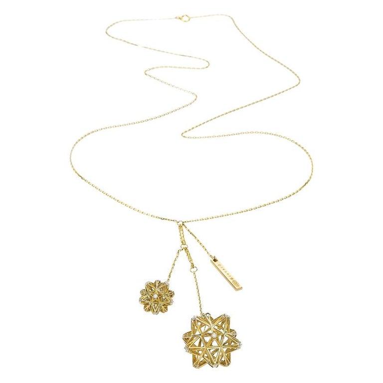 Frame Diamond Gold Pendant For Sale