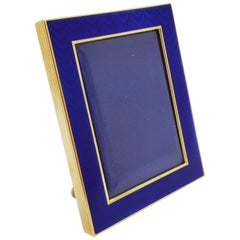 Frame in 18 Karat Yellow Gold and Blue Enamel in Excellent Condition
