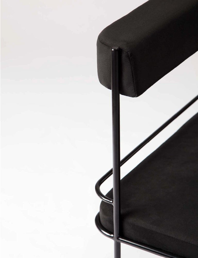 American Frame, Minimalist Black Metal Structured Side Chair For Sale