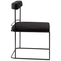 Frame, Minimalist Black Metal Structured Side Chair