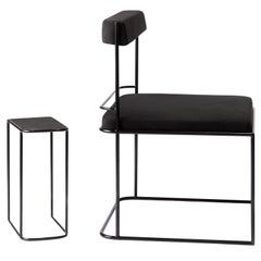 Frame, Minimalist Modern Black Metal Structured Side Lounge Set