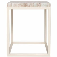 Frame Side Table in Oyster Base with Fantasy Brown Surface
