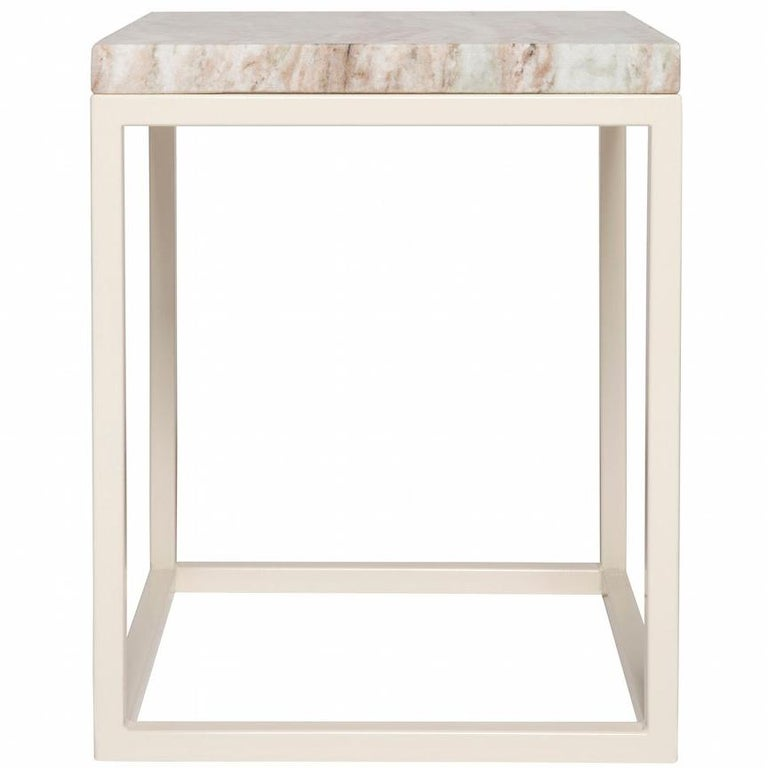 Frame Side Table in Oyster Base with Fantasy Brown Surface For Sale