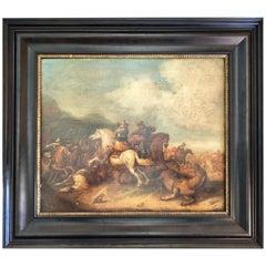 Framed 1609 Oil on Wood Painting signed Martens de Jonge, Cavalry Battle Scene