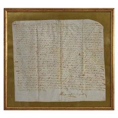 Framed 17th Century French Vellum Handwriting