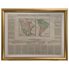 Framed 1820s Hand Colored Map of the United States
