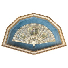 Framed 18th-19th Century French Hand Painted Fan with Mother of Pearl Handle