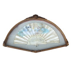Framed 18th-19th Century Hand Painted Silk Fan with Mother of Pearl Handle