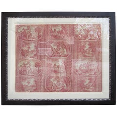 Framed 18th Century French Toile de Jouy Homage to America Textile