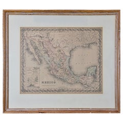 Framed 19th Century Colton Map of Mexico, Texas, California and US Territories