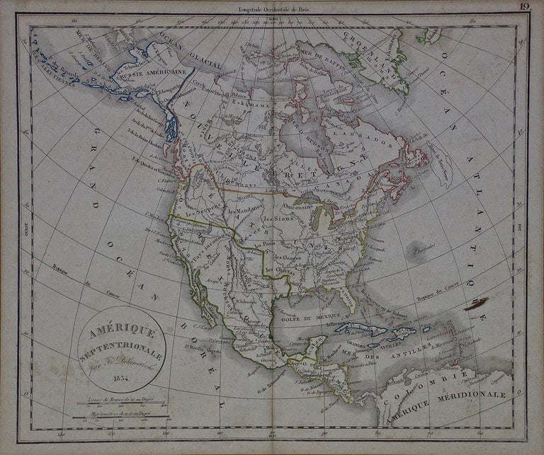 This framed mid 19th century map of North America entitled