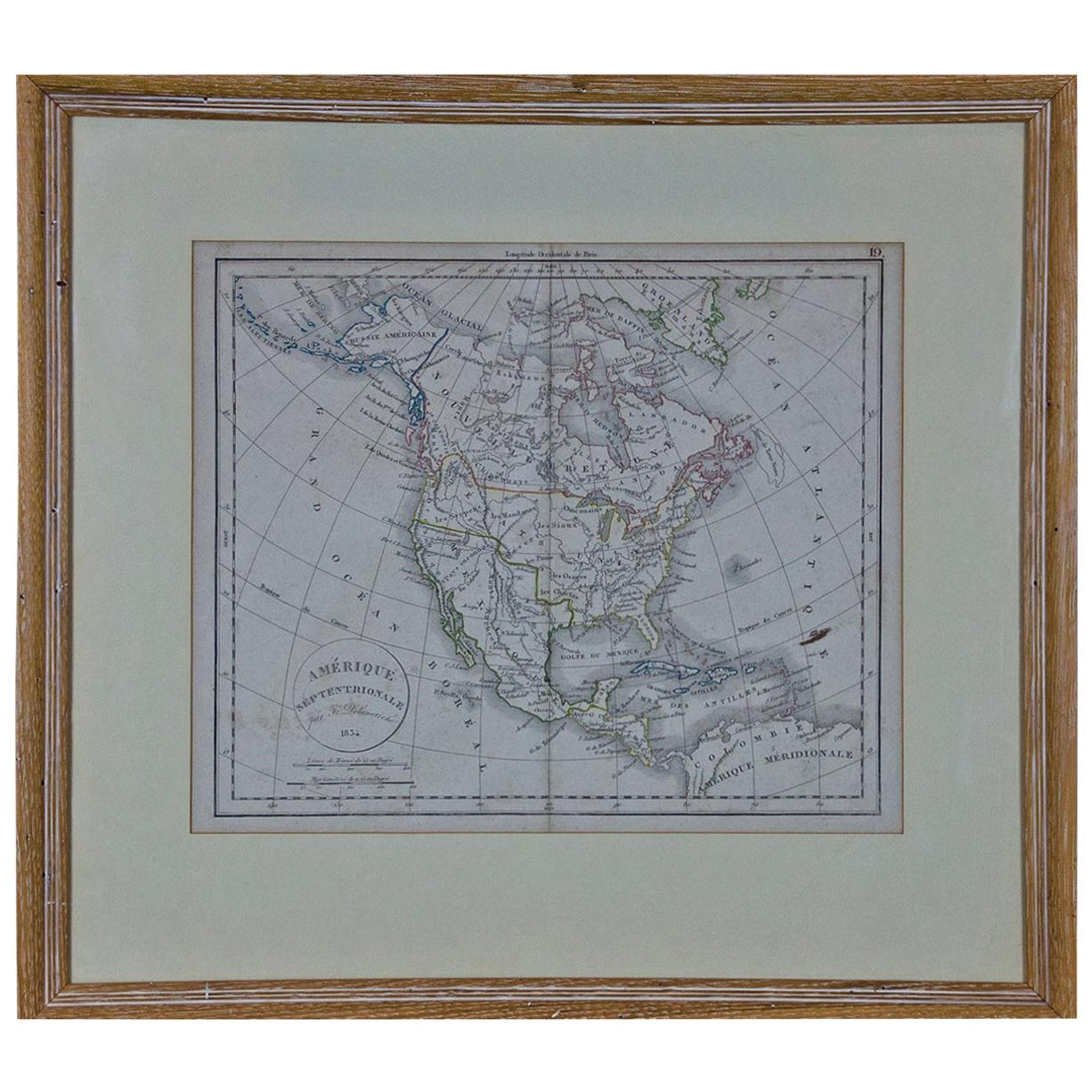 Framed 19th Century French Map of America: Amérique Septentrionale by Delamarche