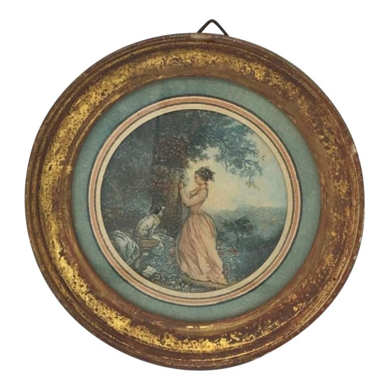 Framed 19th Century French Engraving Miniature Dog and Mistress For Sale