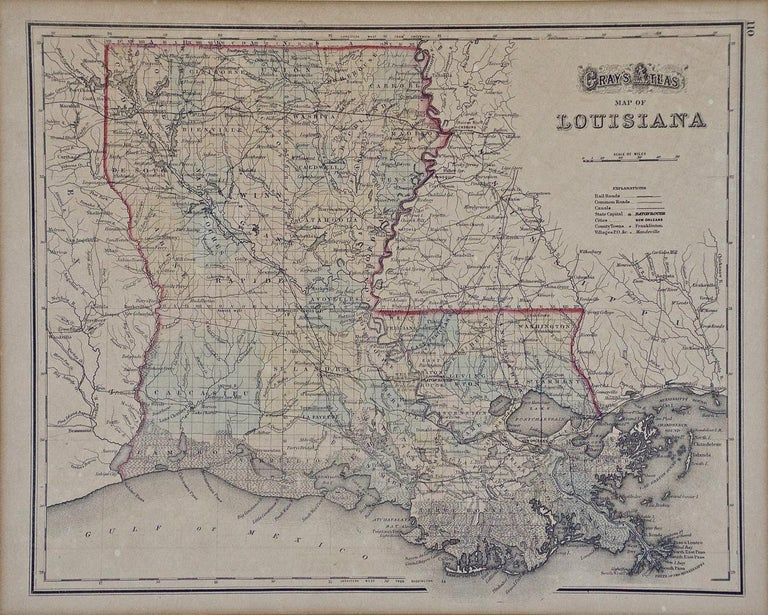 This framed 19th century map of the Louisiana territory was published in