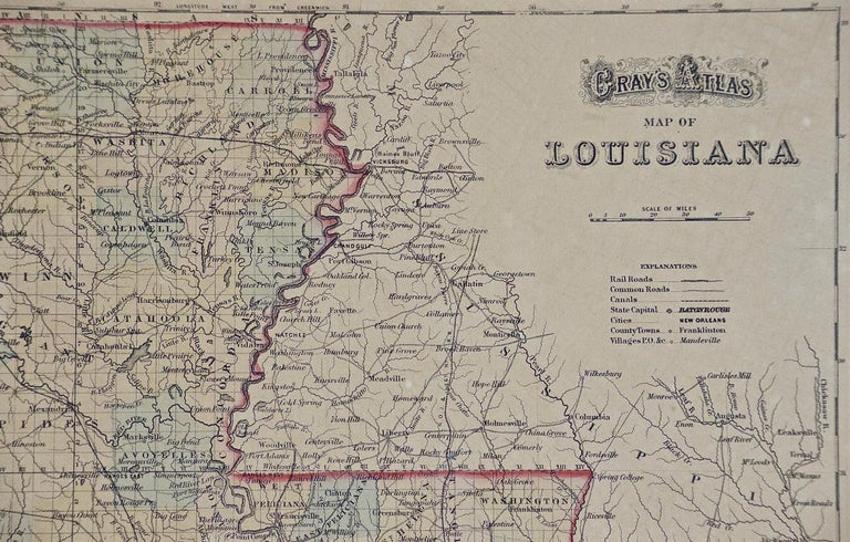 Other Framed 19th Century Gray's Map of Louisiana For Sale