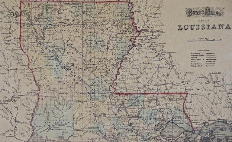 American Framed 19th Century Gray's Map of Louisiana For Sale