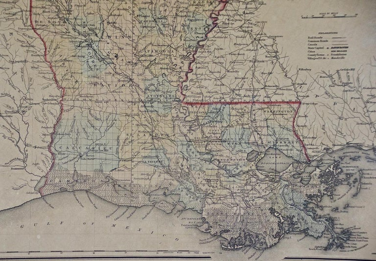 Engraved Framed 19th Century Gray's Map of Louisiana For Sale