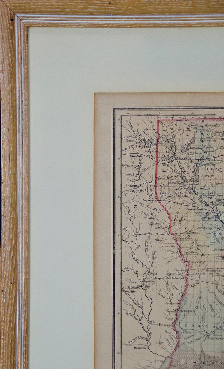 Framed 19th Century Gray's Map of Louisiana In Good Condition For Sale In Alamo, CA