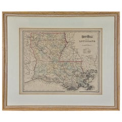 Framed 19th Century Gray's Map of Louisiana
