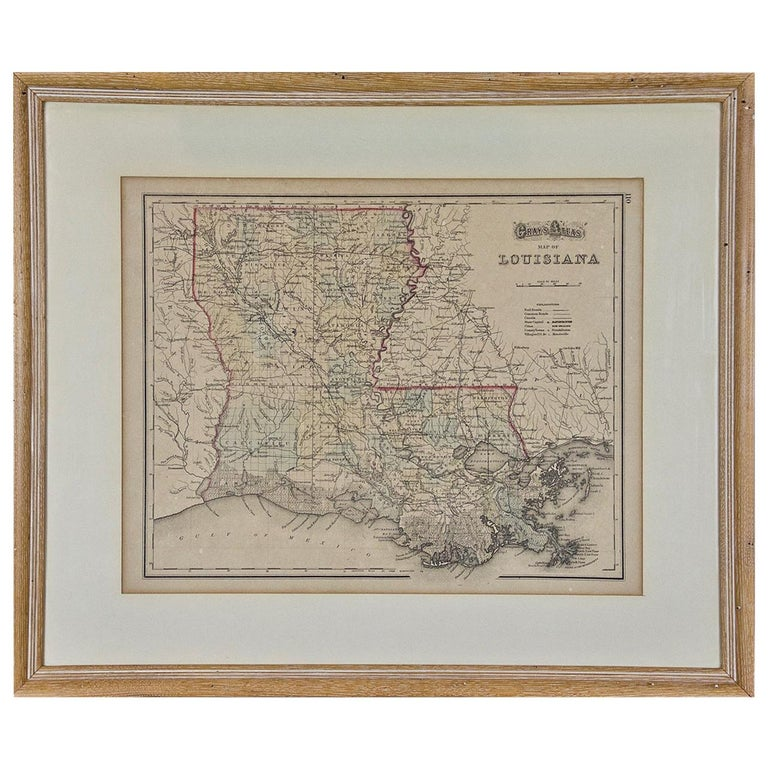 Framed 19th Century Gray's Map of Louisiana For Sale