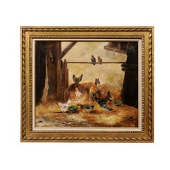 Framed 19th Century Oil on Canvas Barn Painting with Rooster, Hens and Chicks