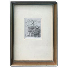 Framed 20th Century Etching of Fisherman, Illegible Signature