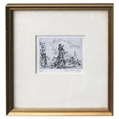 Framed 20th Century Etching of Tree, Illegible Signature