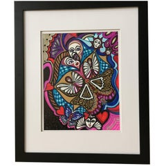 """Framed Abstract """"A Look to The Future 4"""" Mixed-Media by Laurel Rosenberg"""