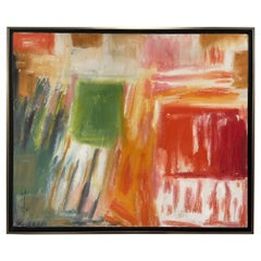 "Framed Abstract Acrylic on Canvas ""Le Temps de Cerises"" by Jacqueline Carcagno"