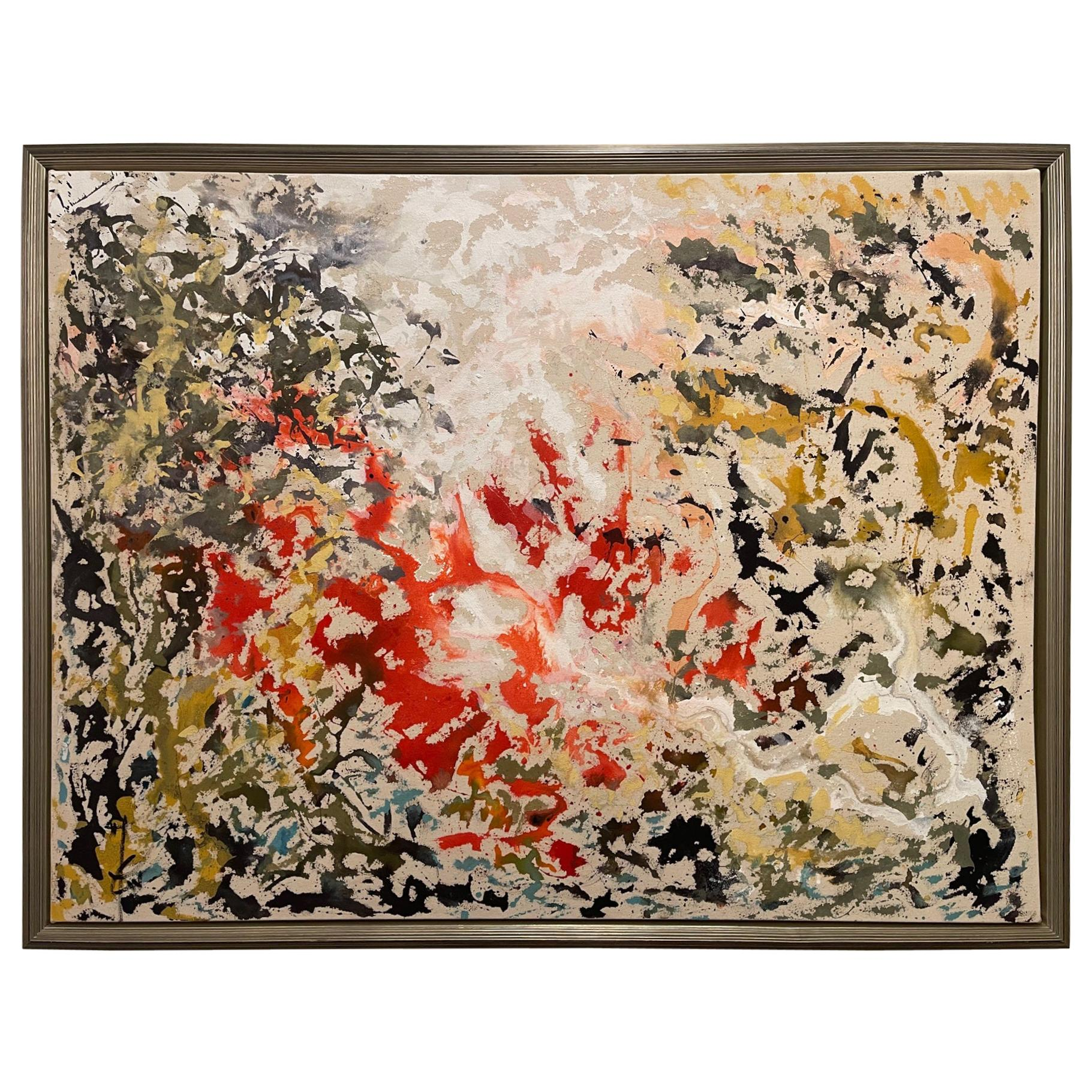 """Framed Abstract Acrylic on Canvas """"The Callot Nature II"""" by Jacqueline Carcagno"""