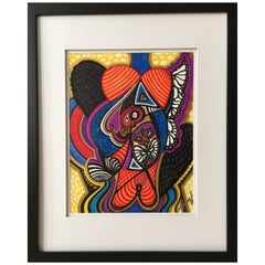 """Framed Abstract """"Addie's Song"""" Mixed-Media on Paper by Laurel Rosenberg"""