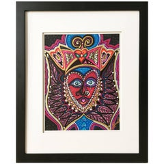 """Framed Abstract """"An Aztec Adventure"""" Mixed Media on Paper by Laurel Rosenberg"""