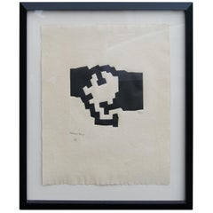 Framed Abstract Etching by Eduardo Chillida, 26/50