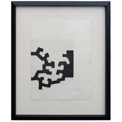 Framed Abstract Etching for Adoracion by Eduardo Chillida, 26/35, 1977