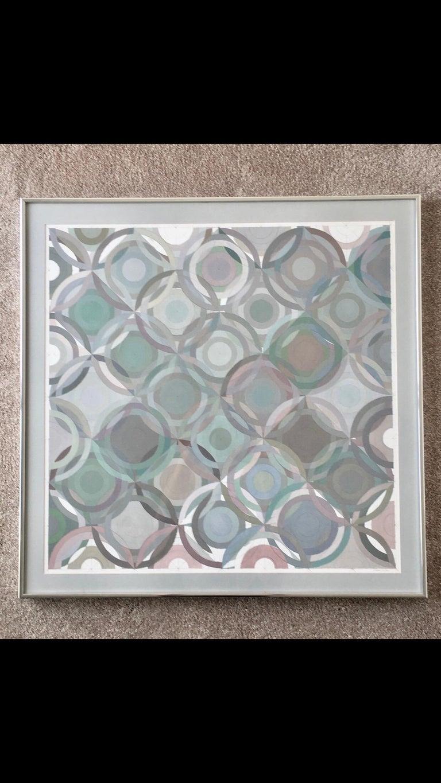 Framed abstract geometric gouache on paper by Stevan Kissel  Signed: Stevan Kissel  Los Angeles, CA.  Beautifully framed.