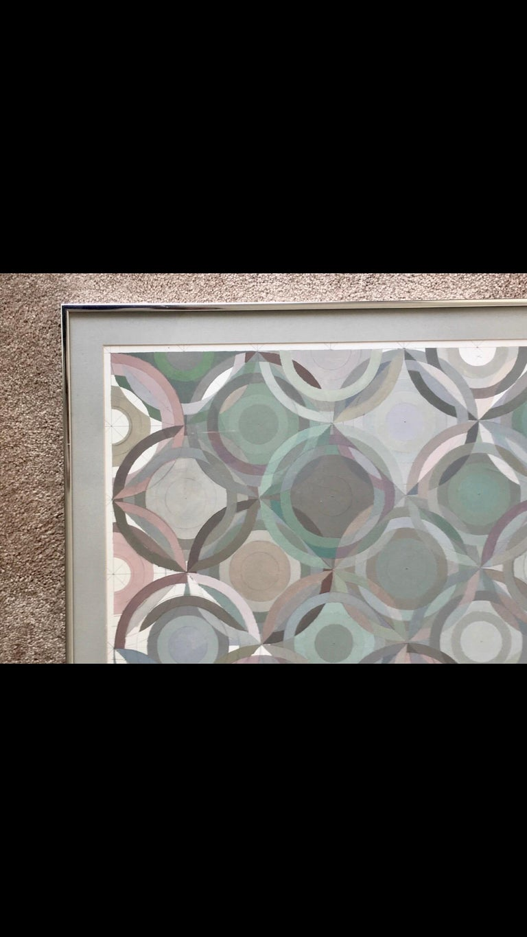 Brushed Framed Abstract Geometric Gouache on Paper by Stevan Kissel For Sale