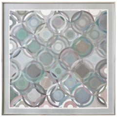 Framed Abstract Geometric Gouache on Paper by Stevan Kissel