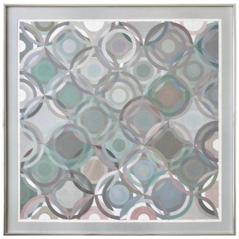 Framed Abstract Geometric Gouache on Paper by Stevan Kissel For Sale