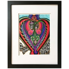 """Framed Abstract """"He, She and Me"""" Mixed-Media on Paper by Laurel Rosenberg"""